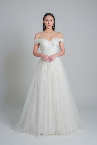 off-shoulder wedding gown Singapore