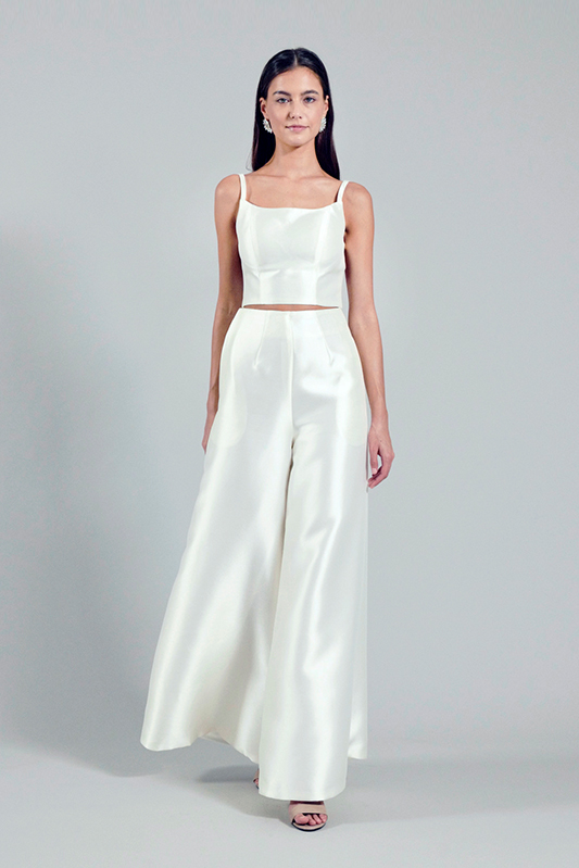 bridal crop top and pants