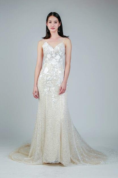 spaghetti wedding dress