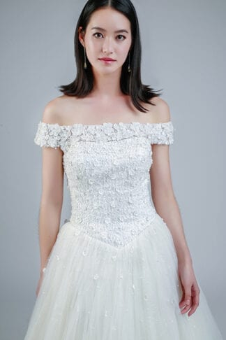 off shoulder wedding gowns