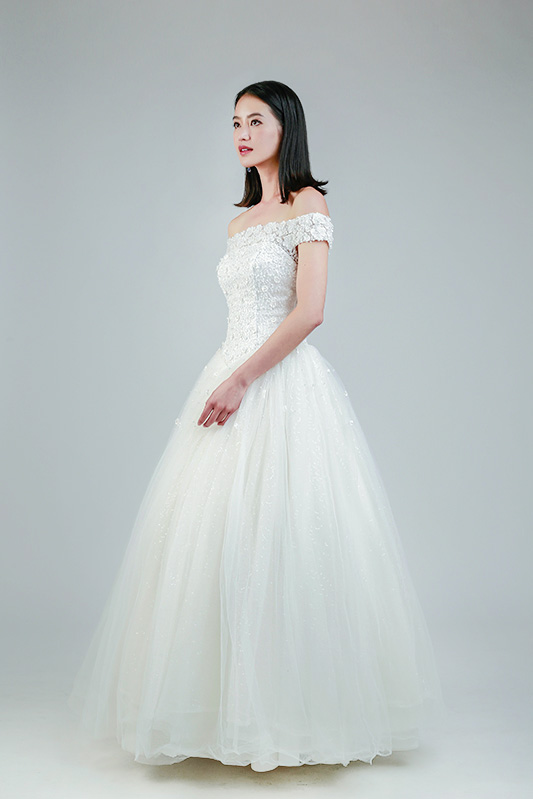 off shoulder wedding gown Singapore -- Love, Fioyo