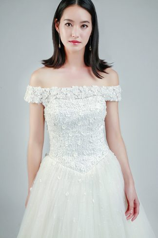 off shoulder wedding gown -- Love, Fioyo